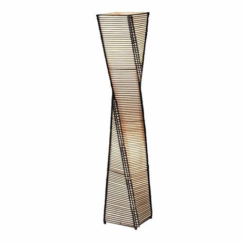 FastFurnishings Modern Twist Sculpture Style Floor Lamp Lantern with Beige Shade