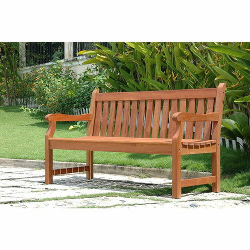 FastFurnishings Outdoor Eucalyptus Wood 5-Ft Garden Bench with Natural Finish