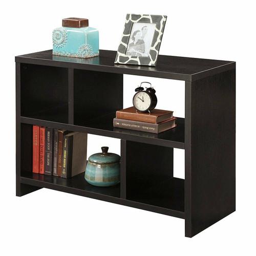 FastFurnishings Modern 2-Shelf Bookcase Console Table in Espresso Wood Finish