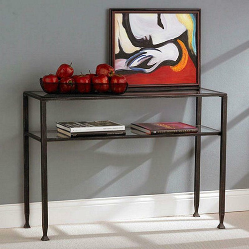 FastFurnishings Black Metal Frame Sofa Table with Clear Tempered-Glass Top Shelves