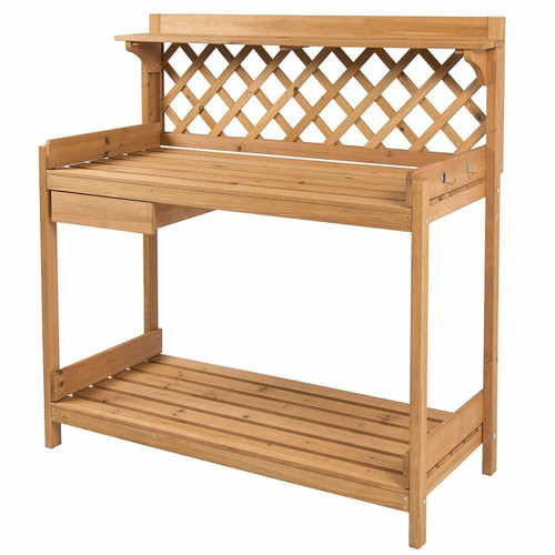 FastFurnishings Solid Wood Garden Work Table Potting Bench in Natural Finish