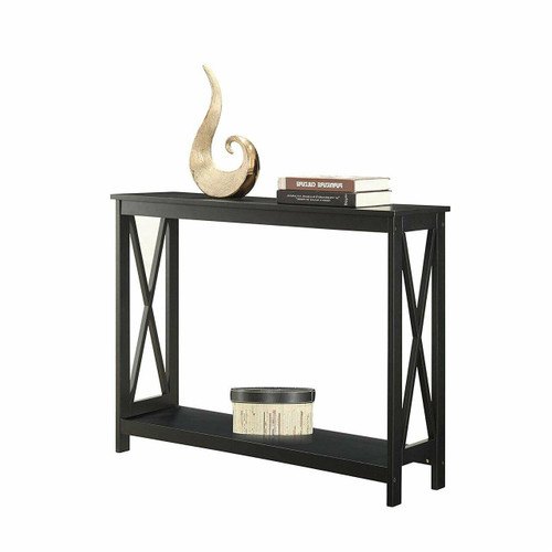 FastFurnishings Black Wood Console Sofa Table with Bottom Storage Shelf