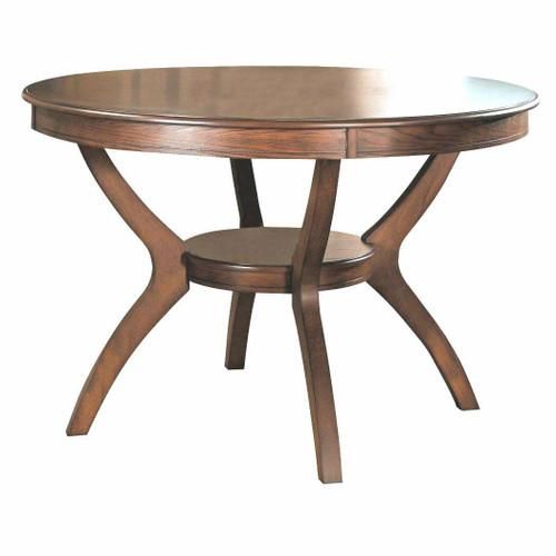 FastFurnishings Modern Classic 48-inch Round Dining Table in Medium Walnut Wood Finish