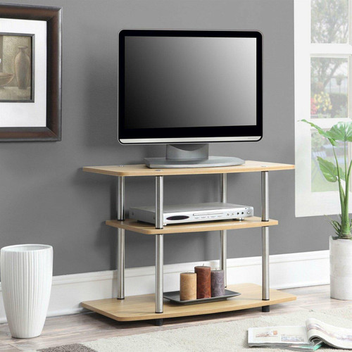FastFurnishings Modern TV Stand Light Oak Wood Finish with Sturdy Stainless Steel Poles