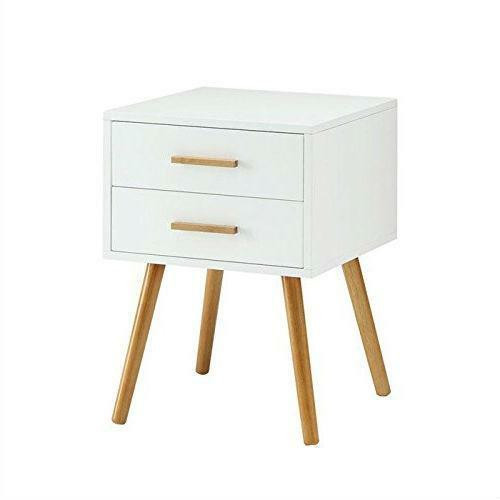 FastFurnishings Modern 2-Drawer End Table Nightstand in White with Mid-Century Style Wood Legs