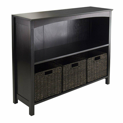 FastFurnishings Espresso 3 Tier Bookcase Shelf Dresser with 3 Storage Baskets