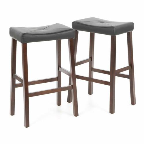 FastFurnishings Set of 2 - Upholstered Faux Leather Saddle Seat Barstool in Mahogany