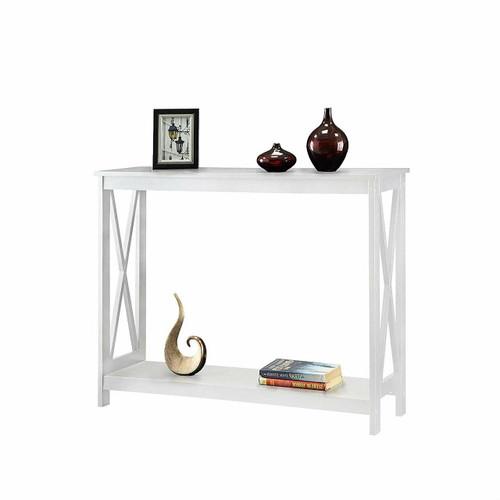 FastFurnishings White Wood Console Sofa Table with Bottom Storage Shelf