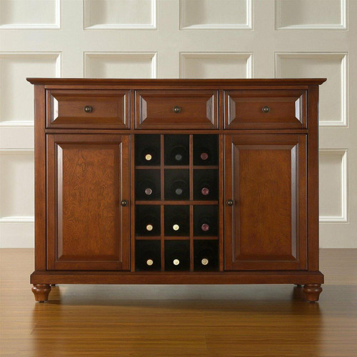 FastFurnishings Classic Cherry Wood Finish Dining Room Sideboard Buffet with Wine Storage
