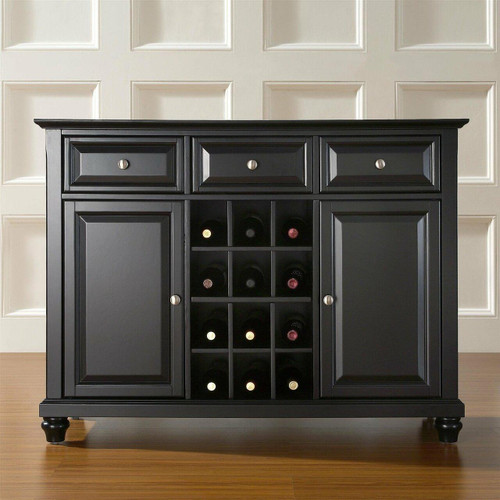 FastFurnishings Contemporary Dining Room Sideboard Buffet Cabinet in Black