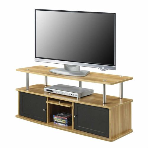 FastFurnishings Modern 50-inch TV Stand in Light Oak / Black Wood Finish