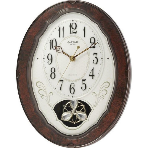 FastFurnishings Wood Frame Pendulum Wall Clock - Plays Melodies on the Hour