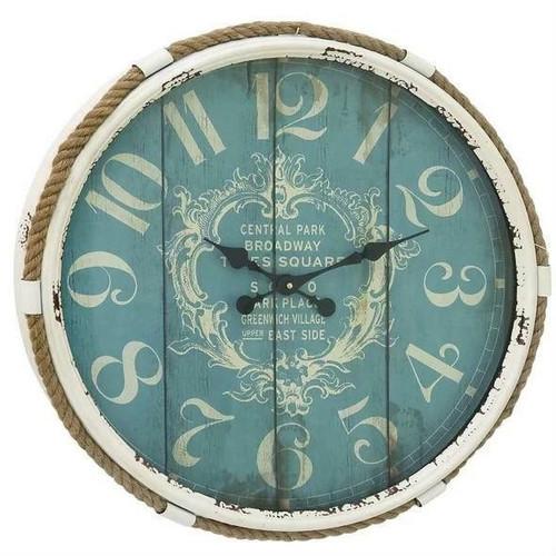 FastFurnishings Vintage Style 25-inch Nautical Blue Wall Clock