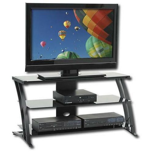 FastFurnishings Black Modern Flat Screen Panel TV Stand / Entertainment Center