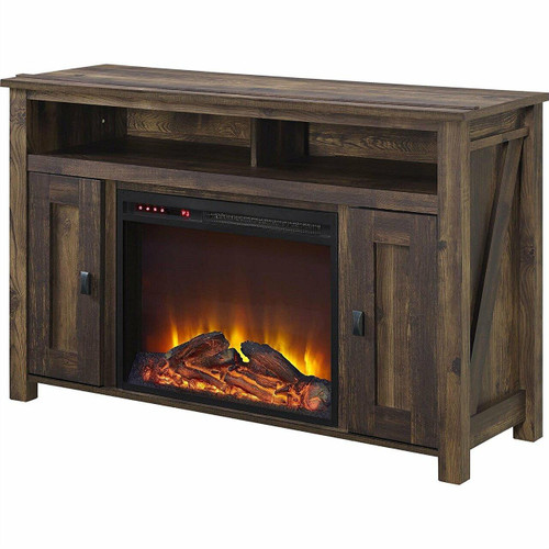 FastFurnishings 50-inch TV Stand in Medium Brown Wood with 1,500 Watt Electric Fireplace