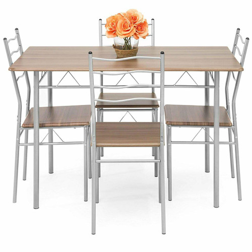 FastFurnishings 5-Piece Wooden Kitchen Table Dining Set with Metal Legs, 4 Chairs, Brown/Silver