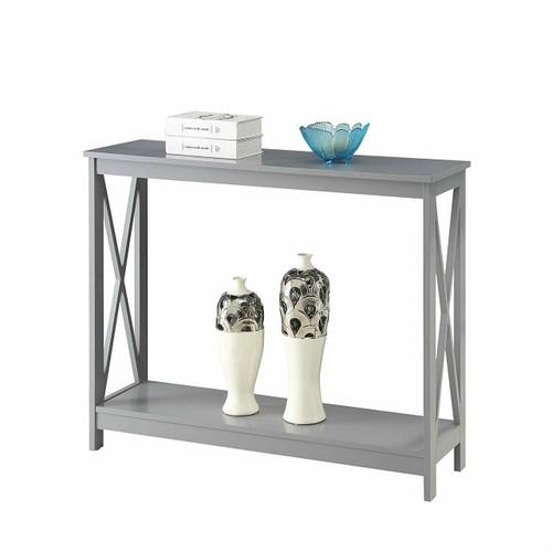 FastFurnishings Grey Wood Console Sofa Table with Bottom Storage Shelf