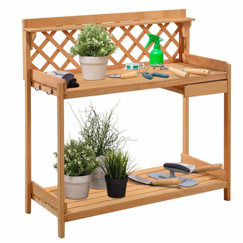 FastFurnishings Outdoor Home Garden Wooden Potting Bench with Storage Drawer