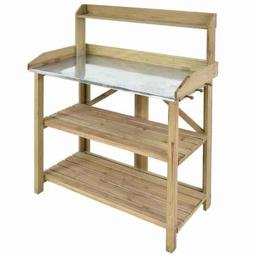 FastFurnishings Outdoor Garden Workstation Potting Bench with Metal Top