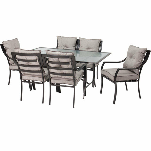 FastFurnishings 7-Piece Outdoor Patio Furniture Metal Dining Set with Cushions