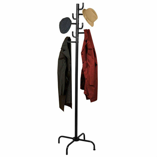FastFurnishings Black Metal Coat Rack Entry Hall Tree Hat Rack