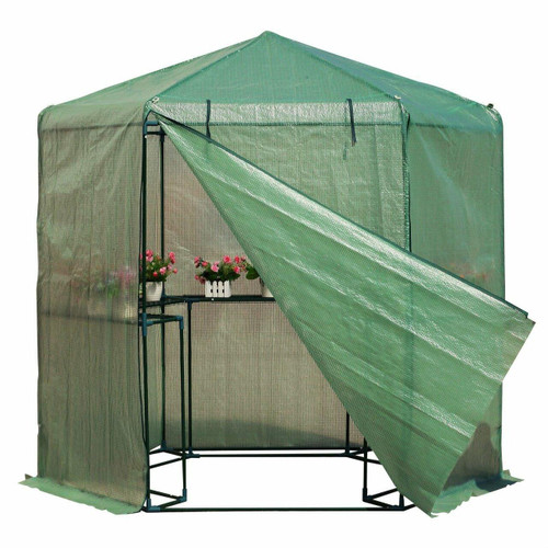 FastFurnishings Outdoor Hexagon Greenhouse 6.5 x 7 Ft with Steel Frame PE Cover and Shelves