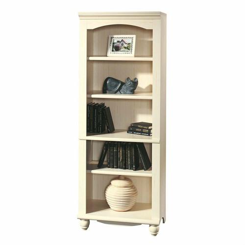 FastFurnishings Elegant Display Shelf Bookcase with 5 Shelves in Antique White Wood Finish