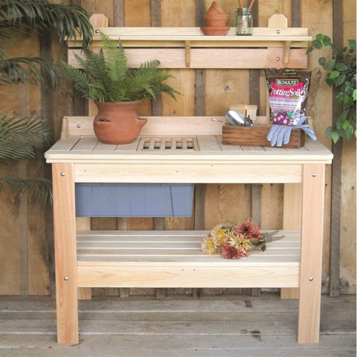 FastFurnishings Wooden Potting Bench Garden Table - Made in USA