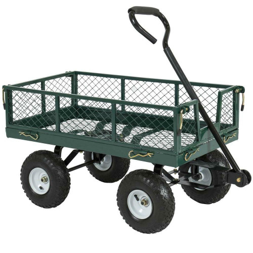 FastFurnishings Heavy Duty Green Steel Garden Utility Cart Wagon with Removable Sides