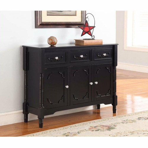 FastFurnishings Solid Wood Black Finish Sideboard Console Table with Storage Drawres