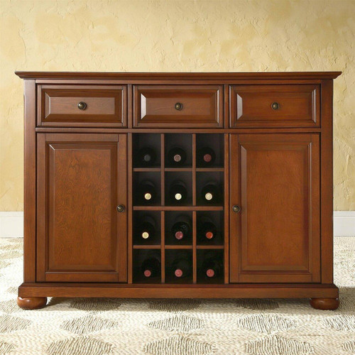 FastFurnishings Cherry Wood Dining Room Storage Buffet Cabinet Sideboard with Wine Holder