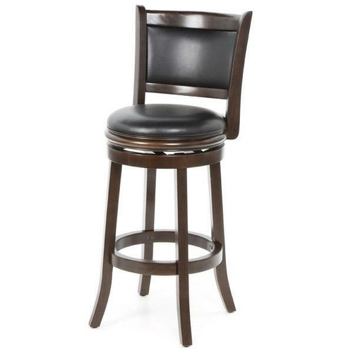 FastFurnishings Cappuccino 29-inch Swivel Barstool with Faux Leather Cushion Seat