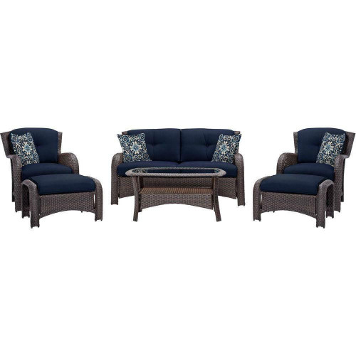 FastFurnishings Outdoor 6-Piece Resin Wicker Patio Furniture Lounge Set with Navy Blue Cushions