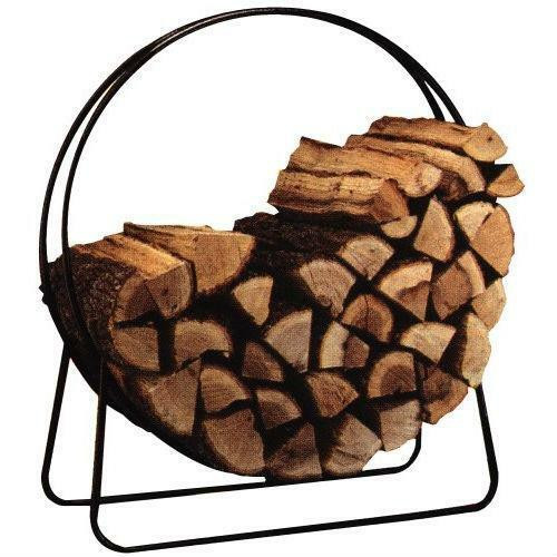 FastFurnishings Round Circular 40-inch Steel Hoop Firewood Log Storage Rack