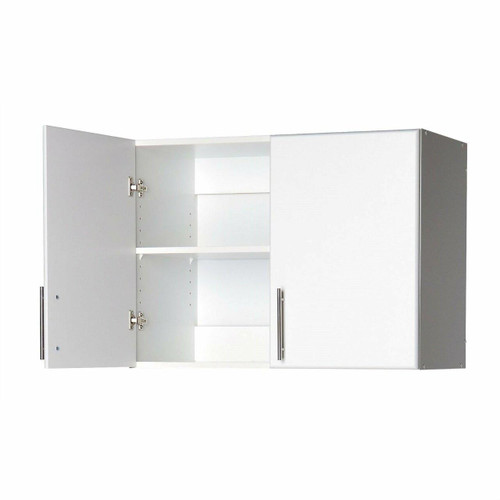 FastFurnishings White Wall Cabinet with 2 Doors and Adjustable Shelf