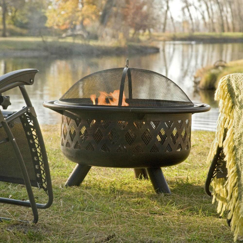FastFurnishings 36-inch Bronze Fire Pit with Grill Grate Spark Screen Cover and Poker