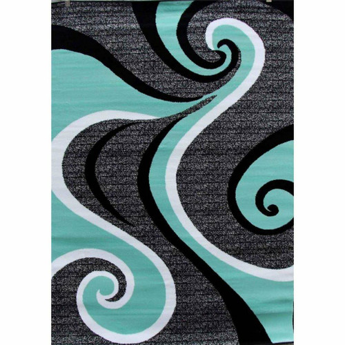 FastFurnishings 52 x 72 Modern Abstract Area Rug with Black Turquoise Swirl