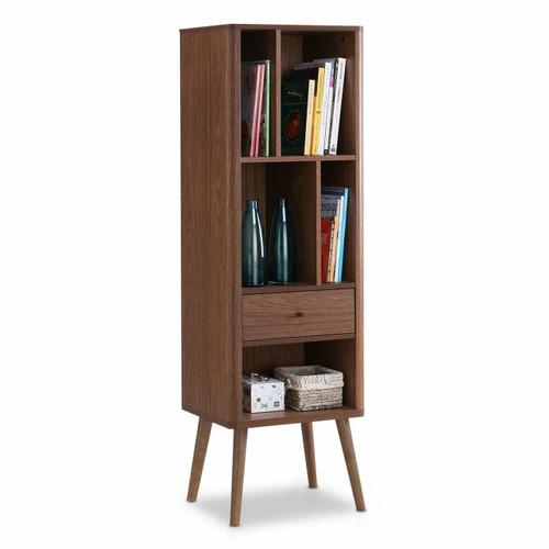 FastFurnishings Mid-Century Modern Bookcase Display Shelf in Walnut Wood Finish