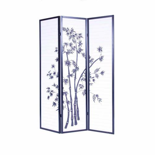 FastFurnishings 3-Panel Asian Shoji Screen Room Divider with Bamboo Print