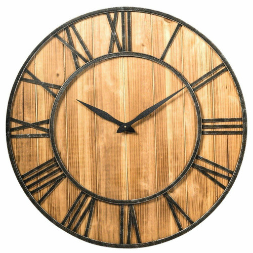 FastFurnishings Round Wood 30-inch Roman Numeral Silent Wall Clock