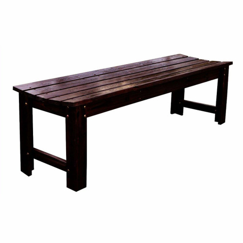 FastFurnishings 5-Feet Backless Outdoor Garden Patio Cedar Wood Bench in Burn Brown