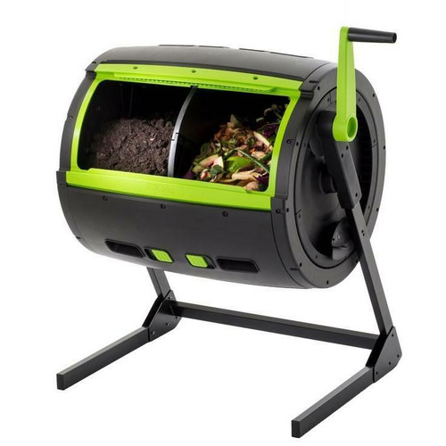 FastFurnishings Rotating 65-Gallon Compost Bin Tumbler with 2 Compartments