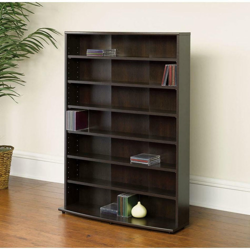 FastFurnishings Contemporary 6-Shelf Bookcase Multimedia Storage Rack Tower in Brown Finish