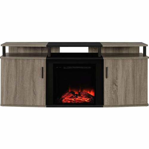FastFurnishings Sonoma Oak / Black Electric Fireplace TV Stand - Accommodates up to 70-inch TV