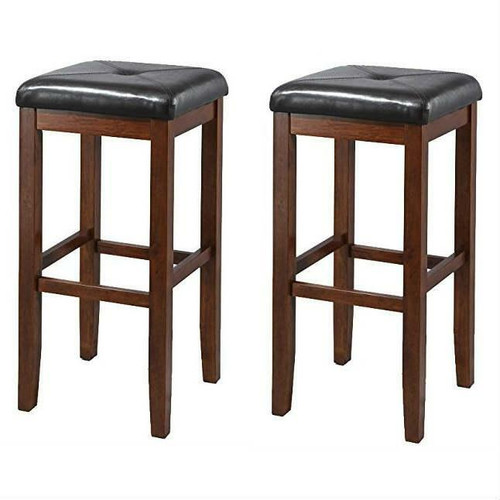 FastFurnishings Set of 2 Vintage Mahogany Stools with Black Upholstered Seat