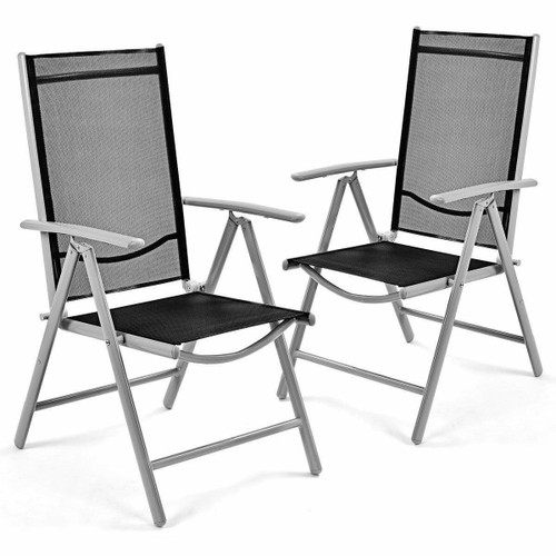 FastFurnishings Set of 2 Folding Outdoor Patio Chairs with Black Mesh Seat and Grey Metal Frame