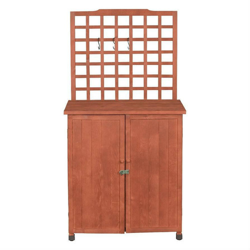 FastFurnishings Outdoor Storage Solid Wood Cabinet Potting Bench with Hanging Lattice Trellis