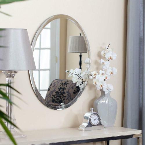 FastFurnishings Oval 36-inch Frameless Beveled Vanity Wall Mirror