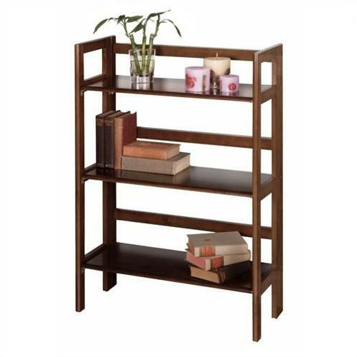 FastFurnishings 3-Shelf Stackable Folding Bookcase in Distressed Walnut Finish