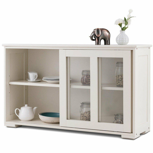 FastFurnishings Modern White Wood Buffet Sideboard Cabinet with Glass Sliding Door